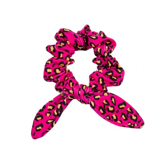 Scrunchie-Haargummi rosagrundig mit Leopardenmotiv - ROAR-PINK SCRUNCHIE