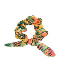 Multicolored tropical scrunchie with a bow - SUN-SATION SCRUNCHIE