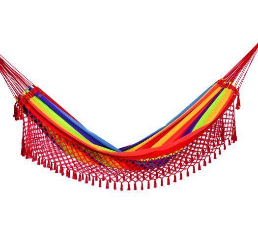 Разноцветный гамакс плетеной красной бахромой 4M x 1,55M - ARCO IRIS COLORIDA