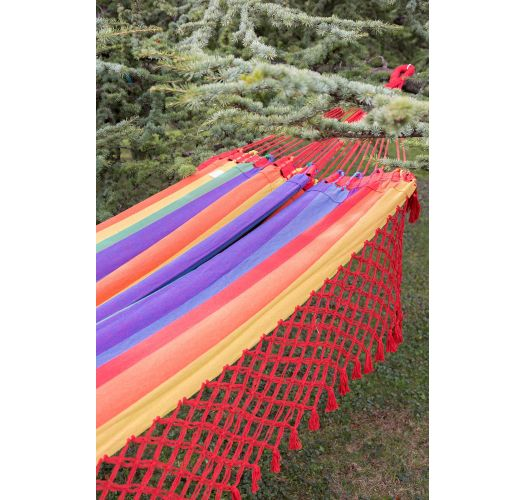 Colorful cotton hammock with macrame fringes 4,1M x 1,55M - ARCO IRIS COLORIDA