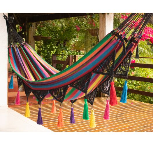 Hammock in recycled multicolored fabric, macrame and pompoms - AXE VDA PINGENTE