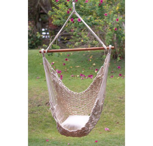 Handmade beige rope hammock chair - CADEIRA C CORDA BEIGE