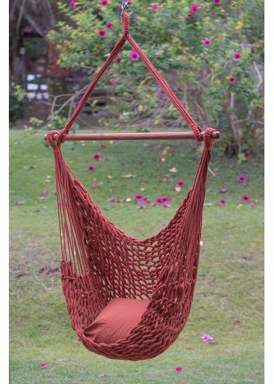 Handmade red rope hammock chair - CADEIRA C CORDA VERMELHO