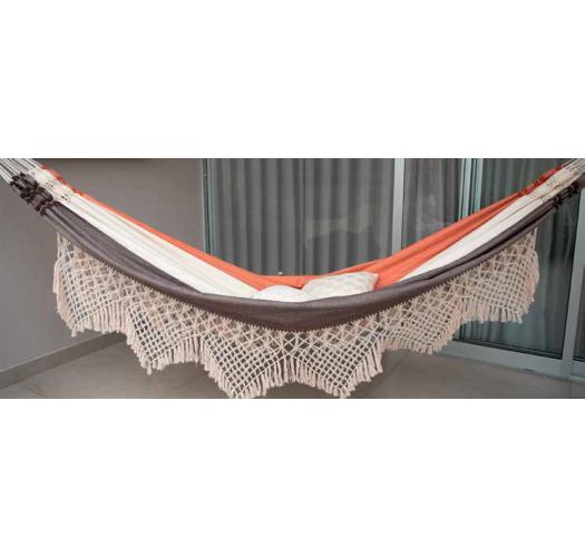 Hammock tricolor fabric and macrame 4.1m x 1.6m - 100% recycled - HAMMOCK MARRAGOGI