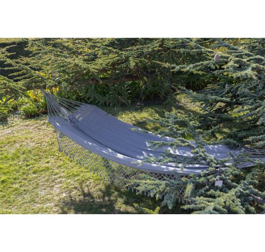 Recycled jeans fabric hammock with fringes 4,4M x 1,6M - JEAN LMC CINZA