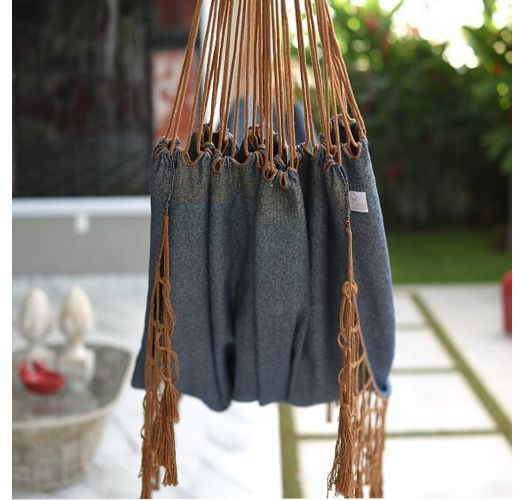 Hammock in recycled jeans fabric and caramel macramé - JEANS VDA SOLTA