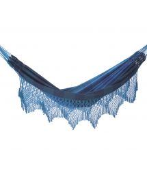 Blue stripes jacquard cotton hammock with macrame edges 4,1M x 1,6M - MARAGOGI AZUL
