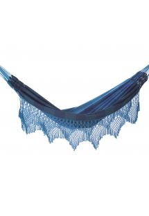 Blue stripes jacquard cotton hammock with macrame edges 4,1M x 1,6M - MARAGOGI AZUL