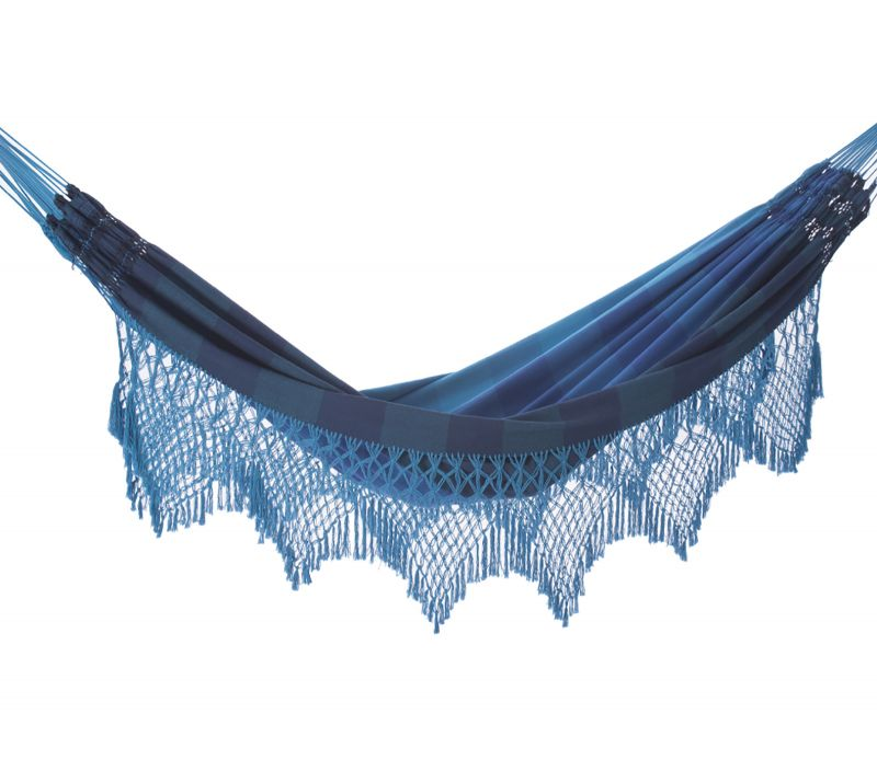 Hängmatta av bomull, blå band, bård av makramé, 4,1 m x 1,6 m - MARAGOGI AZUL
