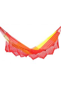 Colorful stripes jacquard cotton hammock with macrame edges 4,1M x 1,55M - MARAGOGI LARANJA