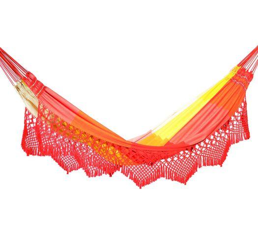 Colorful stripes jacquard cotton hammock with macrame edges 4,1M x 1,55M - MARAGOGI LARANJA