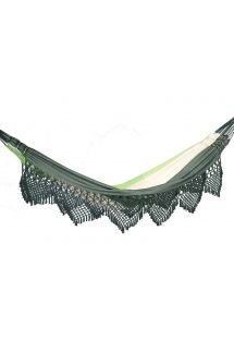 Green jacquard cotton hammock with macrame edges 4,1M x 1,6M - MARAGOGI VERDE