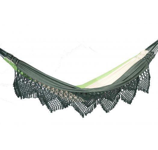 Green jacquard cotton hammock with macrame edges 4,1M x 1,6M - MARAGOGI VERDE