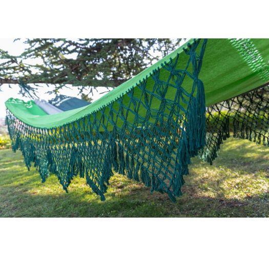 ערסל עשוי כותנהצבעי טריקולור עם קצוות מקרמה ירוקה 4.1 על 1.6 מטר - MARAGOGI VERDE