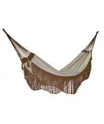 Beige cotton hammock with brown fringes 4M x 1,6M - ONDA TR BEGE