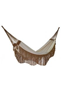 Beige cotton hammock with brown fringes 4M x 1,6M - ONDA TR BEGE