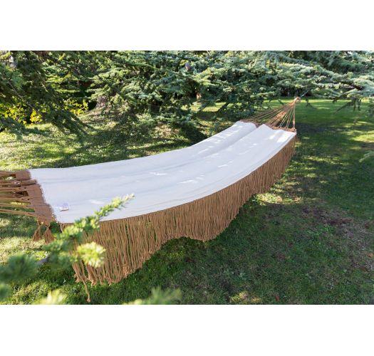Rede em algodão bege c/ franjas castanhas 4M x 1,6M - ONDA TR BEGE