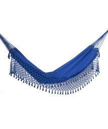 Гамак из джинсового полотна лазурно-синего цвета размером4x1,6 м с плетёной каймой- SOL A SOL LMC AZUL