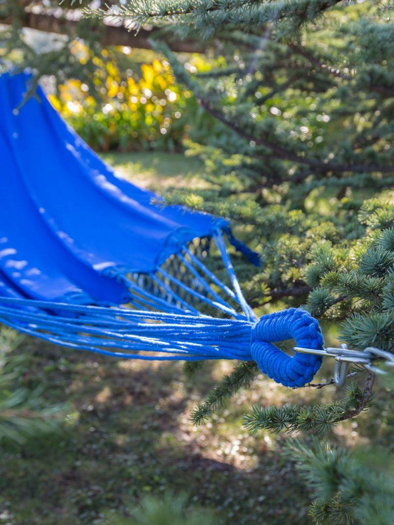Kungsblå hängmatta med flätade fransar 4M x 1,6M - SOL A SOL LMC AZUL
