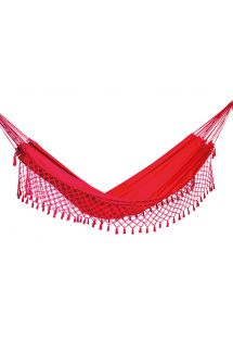 Pink denim hammock with macrame edges 4M x 1,6M - SOL A SOL LMC VERMELHA
