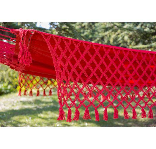 Pink denim hammock with macrame edges 4M x 1,6M - SOL A SOL LMC VERMELHA