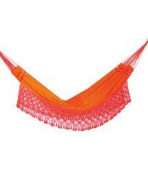 Orange denim hammock with macrame edges 4,1M x 1,55M - SOL A SOL SLRD LARANJA