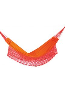 Orange denim hammock with macrame edges 4,1M x 1,55M - SOL A SOL SLRD LARANJA
