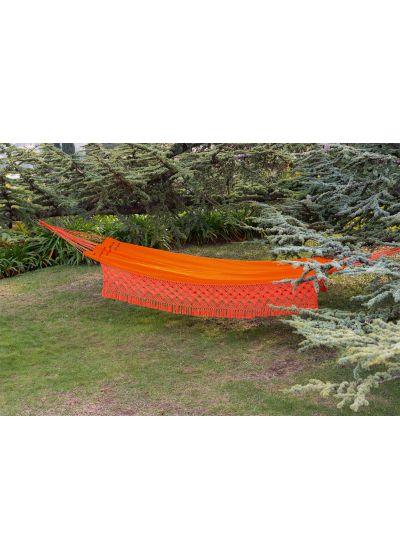 Orange hängmatta med macramé kanter, 4.1M x 1.55M - SOL A SOL SLRD LARANJA