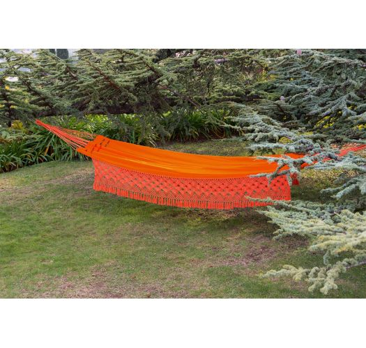Hamac toile denim orange bords macramé 4,1M x 1,55M - SOL A SOL SLRD LARANJA