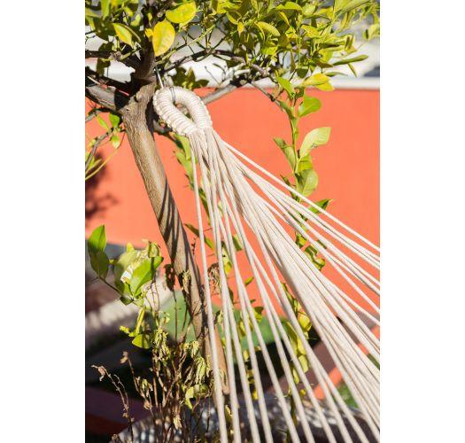 Amaca in cotone naturale con jacquard e macramè - TAMBABA BEGE