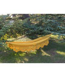 Yellow jacquard cotton hammock with macrame edges 4M x 1,6M - TAMBABA ML AMARELO