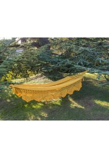 Yellow jacquard cotton hammock with macrame edges 4M x 1,6M - TAMBABA ML AMARELO