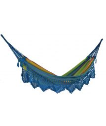 Colorful jacquard cotton hammock with macrame edges 4M x 1,6M - TAMBABA ML COLORIDA