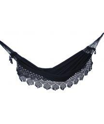 Black jacquard cotton hammock with macrame edges 3,95M x 1,6M - TAMBABA ML PAULISTA