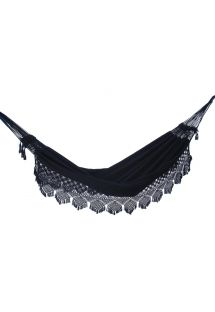 Black jacquard cotton hammock with macrame edges 3,95M x 1,6M - TAMBABA ML PAULISTA