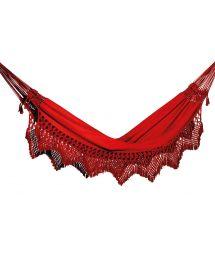 Red jacquard cotton hammock with macrame edges 4M x 1,6M - TAMBABA ML VERMELHO