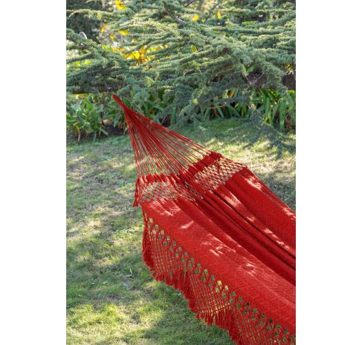 Red jacquard cotton hammock with macrame edges 4M x 1,6M - TAMBABA ML VERMELHO