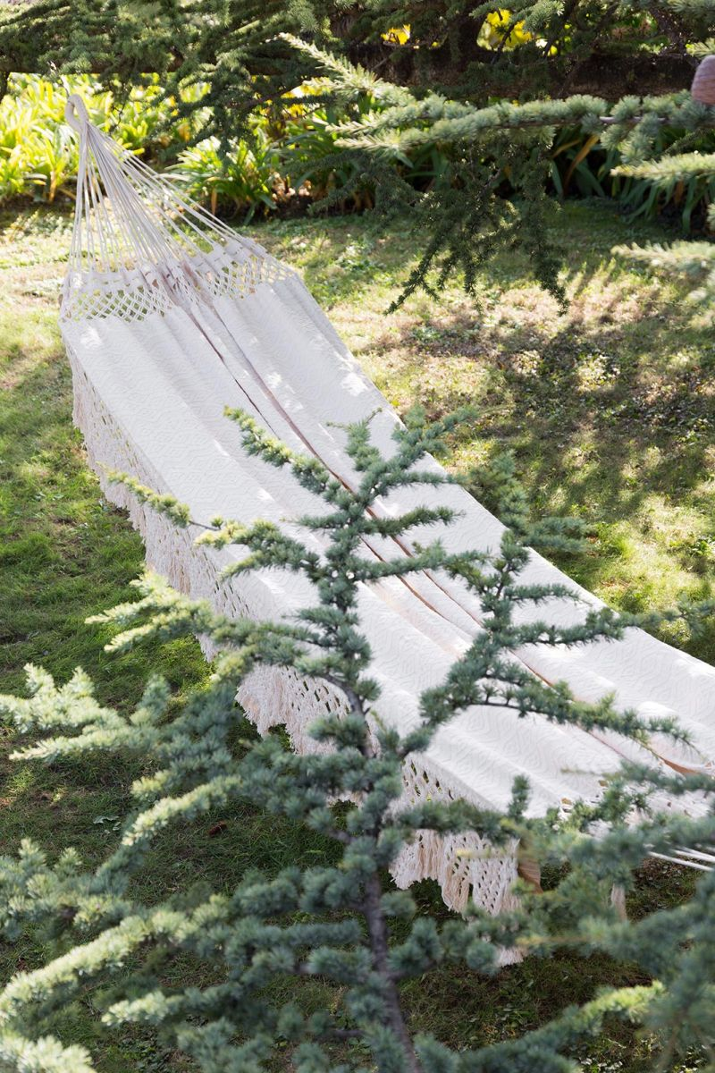Bio natural cotton hammock with macrame and jacquard 4M x 1,6M - TAMBALA ML ORGANIC BEGE