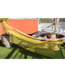 Hamac coloré en coton recyclé et macramé jaune 3,8M x 1,4M - TAMBAU AMARELA