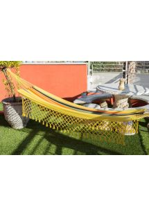 Colorful recycled cotton hammock with macrame 3,8M x 1,4M - TAMBAU AMARELA