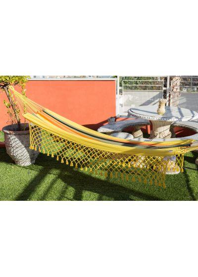 Colorful recycled cotton hammock with macrame 3,8M x 1,4M - TAMBAU AMARELA