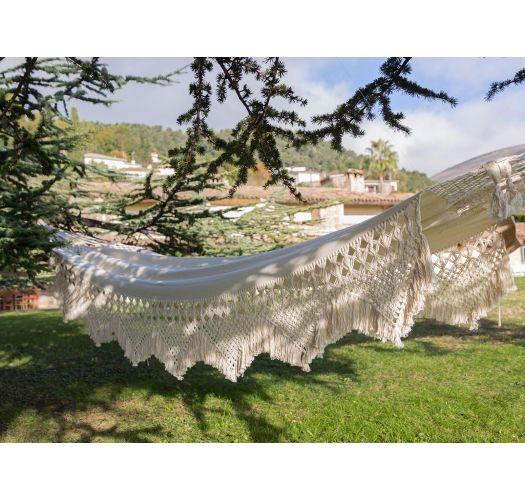 Bio natural cotton hammock with macrame 4,2M x 1,6M - XINGU CASAL ORGANIC BEGE