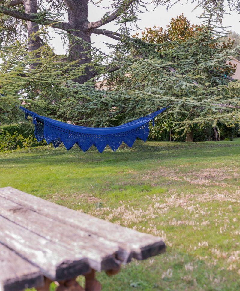 Blå hängmatta av bomull, bård av makramé, 4,2 m x 1,6 m - XINGU ML AZUL