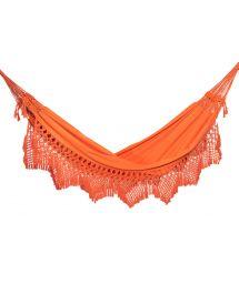 Hamac coton orange et bords macramé 4,2M x 1,6M - XINGU ML LARANJA