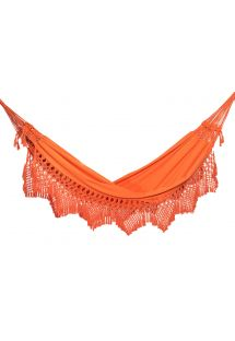 Orange cotton hammock with macrame 4,2M x 1,6M - XINGU ML LARANJA