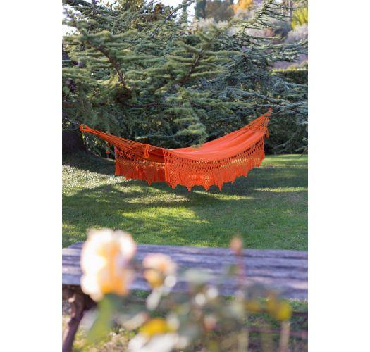 Orange cotton hammock with macrame 4,2M x 1,6M - XINGU ML LARANJA