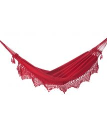 Hamac coton rouge et bords macramé 4,2M x 1,6M - XINGU ML VERMELHA