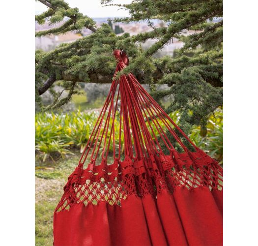 Red cotton hammock with macrame 4,2M x 1,6M - XINGU ML VERMELHA