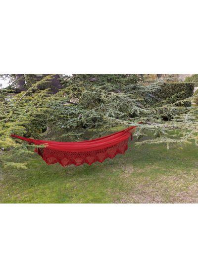 Röd hängmatta i bomull med makraméfransar, 4,2 m x 1,6 m - XINGU ML VERMELHA