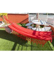 Hamac coton rouge et franges tressées 4M x 1,6M - XINGU TR VERMELHA